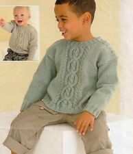 (768) Knitting Pattern for Baby Child's Aran Sweater, 18-28''