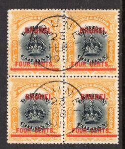 Brunei. Labuan Crown. 1906. 4c on 12c. Line through B. Used Block of 4.  SG15a