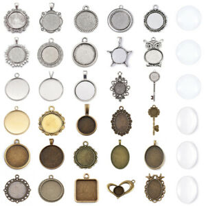 Pendant Trays Mixed Setting With Glass Cabochon Dome Tiles for Crafting DIY