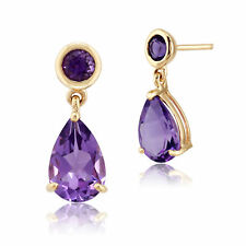 Gemondo 9ct Yellow Gold 2.25ct Natural Amethyst Two Stone Drop Earrings