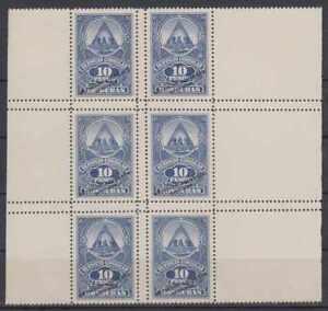 "HONDURAS 1927 REVENUES 10 Pesos FULL SHEET OF 6 PERF PROOF + ""SPECIMEN"" VF RARE!"