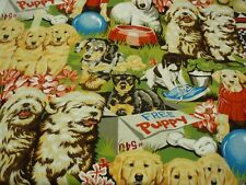 Free Puppies dogs cute Alexander Henry fabric