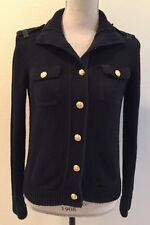 RALPH LAUREN Military Style Black Sweater Gold Signature Buttons Size Small Nice