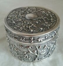 Late C19 Chinese Export silver Box.Decorated in relief with blossoms.By Luen Wo