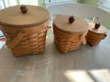 longaberger baskets, 3 different sizes with matching apple lids