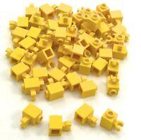 Lego 50 New Yellow Bricks Modified 1 x 1 with Clip Vertical open O clip Pieces