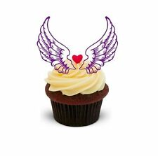FAIRY ANGEL WINGS Purple 12 STANDUPS Edible Image Cake Toppers Birthday Party