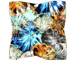 Blue Black Abstract Printed Thick Silk Square Scarf (M889)