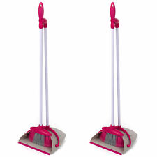 Kleeneze COMBO-5128 Self-Standing Dustpan And Broom Set, White/Pink, Set of 2