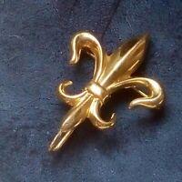 Antique 14k gold  filld Albert Watch brooch Fleur de Lys back hook for chain