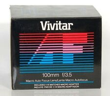 VIVITAR 100mm MACRO f/3.5 includes 1:1X macro adapter for Minolta / Sony Alpha