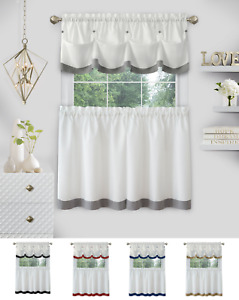 Country Farmhouse 3 Pc Solid Cafe Kitchen Curtain Tier & Tucked Valance Set