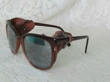 Vintage 1980s Alpine Snow Ski Mountaineering Mirrored Sunglasses Leather Side