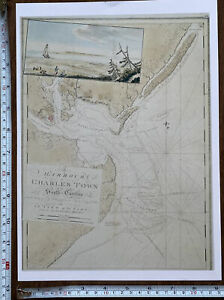 Antique Old Vintage  MAP 1700's Charles Town, Carolina, America 1777: Reprint