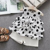 Toddler Baby Kids Girls Sleeveless Ruffles Dot Print Cake Dress Tops Shorts Set
