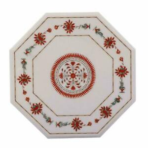 "18"" White Stone Inlay Italian Marble Center Coffee Table Top Octagon Decor"