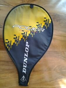 DUNLOP Tennis Racket Cover Dark Grey/Yellow with Transparent Pocket for 3 Bolls
