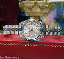 LADIES ROLEX OYSTER PERPETUAL DATEJUST DIAMOND HOUR MARKERS STAINLESS STEEL