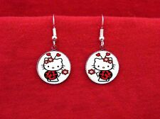 HELLO LADY BUG KITTY FLOWERS HEARTS EARRINGS KAWAII EMO