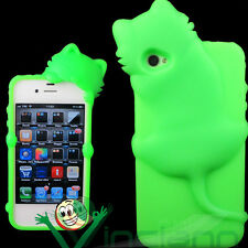 Custodia cover silicone KIKI gatto VERDE per iPhone 4 4S case flessibile guscio