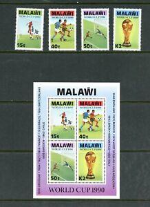 E282 Malawi 1990 Football Ensemble & Feuille MNH