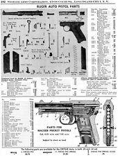 1954 Print Ad of Ruger Auto Pistol & Mauser Pocket Pistol Parts List