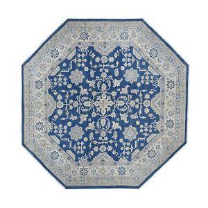 "7'8""x7'8"" Tribal Wool Afghan Vintage Look Kazak Hand Knotted Octagon Rug R54633"