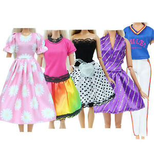 5 Clothes Floral Dress Summer Mini Gown Outfits for 12 in. Doll Toy Gift Set