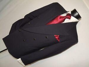 Pierre Cardin men's Vintage Blue Double breasted blazer jacket 40 Short