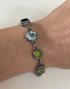 Vintage Designer Signed AJMER STERLING SILVER MULTI-GEMSTONE Toggle Bracelet 925