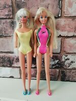 Vintage Pearl & Sparkle Beach Barbie Pair 1976 China & Indonesia Redressed