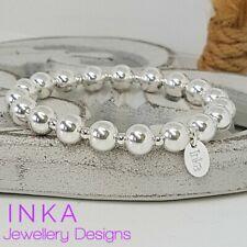 Inka 925 Sterling Silver CHUNKY Plain 8mm beaded Stacking Stretchy Bracelet