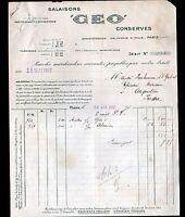 """PARIS (XIII°) CONSERVES ALIMENTAIRES / GEO """"GEO FOUCAULT & SCHWEITZER"""" en 1917"""