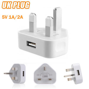 3 Pin UK Plug 5V 1A/2A USB Adapter Wall Charger Home Travel Charging For Phones