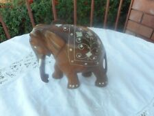 VINTAGE HANDCRAFTED WOODEN ELEPHANT WITH  DECORATION