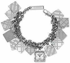 NEW BURBERRY SILVER TONE SQUARE CHECKER CHARM CHAIN BRACELET WATCH BU5260