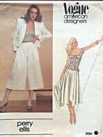 1970's VTG VOGUE Misses' Jacket,Culottes&Top Perry Ellis Pattern 2694 Size 6 UNC