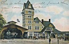 1909 Newport News, Virginia Chesapeake & Ohio Railway Station Railroad Postcard