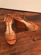 Frye Tan Strappy Leather Platform Wedge Heels Shoes, Size 9