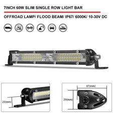 7inch Single Row Slim 60W  Flood LED Work Light Bar Car Off Road SUV 4WD ATV 4X4