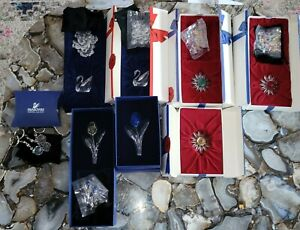 Lot of 10 SWAROVSKI CRYSTAL DAISIES, TULIPS, SWANS KEYCHAINS BAGS OF CRYSTALS