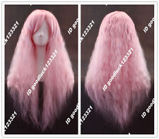 70cm pin-up Rhapsody long Pink curly wavy fluffy cosplay wig + free wig cap