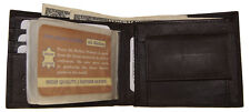 Mens Bifold Leather Wallet ID Credit card Slots with Secure Coin Pocket Brown