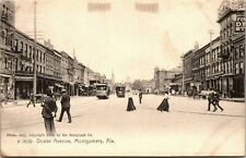Postcard AL Montgomery Dexter Avenue Street-view Streetcars Drug Stores 1904 L14
