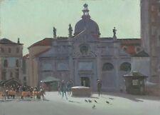 "ORIGINAL MICHAEL RICHARDSON OIL ""Plaza de Santa Maria de Formosa"" italy PAINTING"