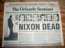 1994 Orlando Sentinel FLORIDA display headline newspaper RICHARD NIXON DEAD