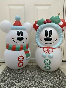 Mickey & Minnie Mouse Disney Lighted Blow Mold Snowman Christmas Decorations Set