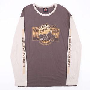 Vintage HARLEY DAVIDSON Raglan Brown 00s Long Sleeve T-Shirt Mens XL