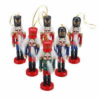 6PCS Wooden Nutcracker Puppet Soldier Christmas Tree Hanging Decoration Gift