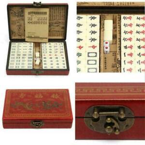 Vintage Mahjong Rare 144 Tiles Mah-Jong Set Bamboo Piece w/ English Instructions